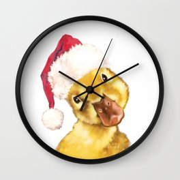 Christmas yellow duckling Wall Clock