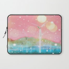 wind turbine in the desert with snow and bokeh light background Laptop Sleeve