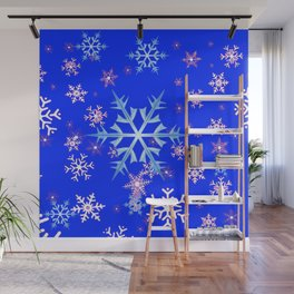 DECORATIVE BLUE  & WHITE SNOWFLAKES PATTERNED ART Wall Mural
