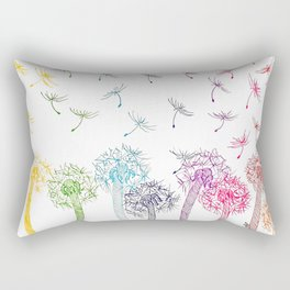 Rainbow dandelions Rectangular Pillow