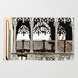 Drawing of Gothic Quarter in Barcelona Spain Rug