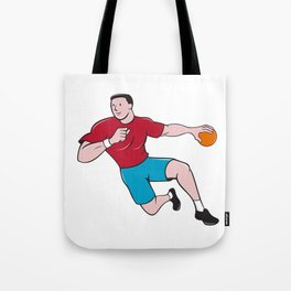 Handball Player Throwing Ball Cartoon Tote Bag