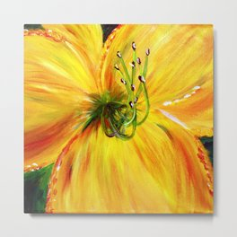 Yellow with Green Center Daylily Metal Print