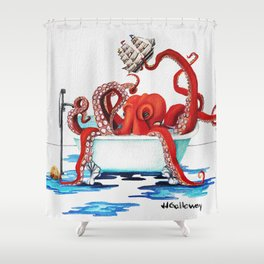 Bath Time Red Shower Curtain