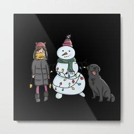 Cartoon girl with dog and snowman merry xmas Metal Print