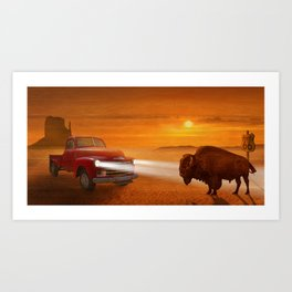 Meeting in the sunset on Route 66 Art Print