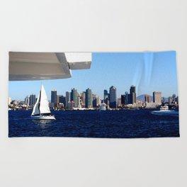 San Diego Skyline and Sailboat Beach Towel