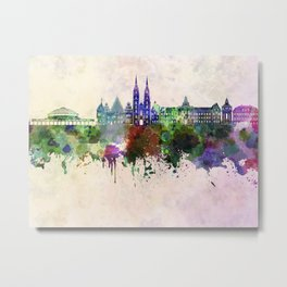 Wroclaw skyline in watercolor background Metal Print
