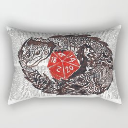 Here Be Dragons  (dragon and d20 dice on dictionary page) Rectangular Pillow