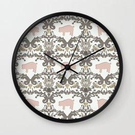 pig damask Wall Clock