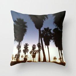 California Palm Trees at Sunset Throw Pillow