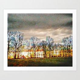Mosaic Sunset Art Print