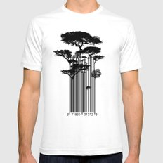 Barcode Trees illustration  MEDIUM Mens Fitted Tee White