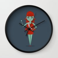 argentina Wall Clocks featuring Miss Argentina by Kristen Tryon