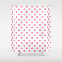 Small Polka Dots - Flamingo Pink on White Shower Curtain