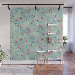 Aqua blue teal watercolor washed botanical red blooms pattern Wall Mural