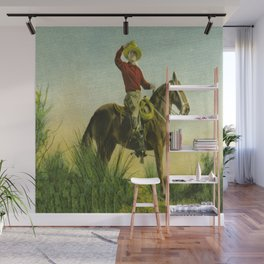 Vintage Western Cowboy On Horse In Grassy Field Wall Mural