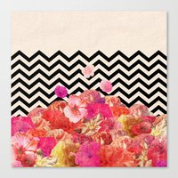 indie Canvas Prints featuring Chevron Flora II by Bianca Green