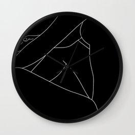 Nude figure line drawing - Lou Black Wall Clock