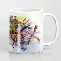 france Mugs featuring France by oxana zaika