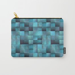 Tiled Pattern Shades Of Blue Carry-All Pouch