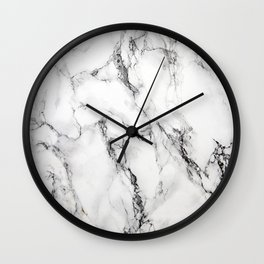 White Faux Marble Texture Wall Clock