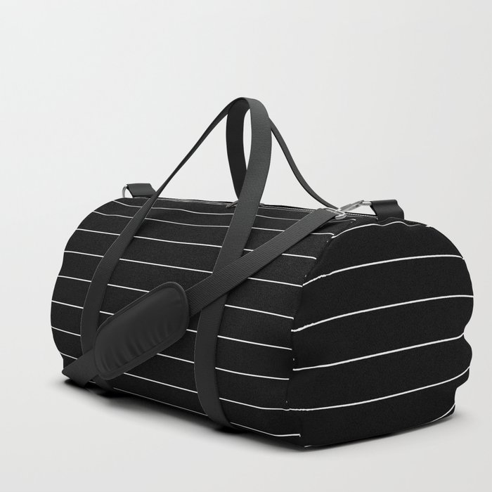Black And White Pinstripe Line Stripe Minimalist Stripes Lines Duffle Bag