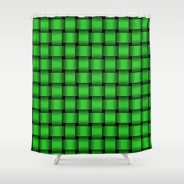 Lime Green Weave Shower Curtain