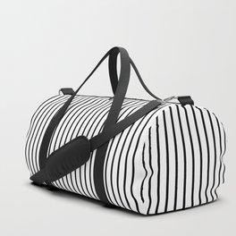 Black Pinstripe On White Pattern Duffle Bag