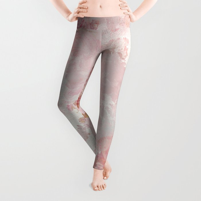 Vintage Floral Rose Roses painterly pattern in pink Leggings