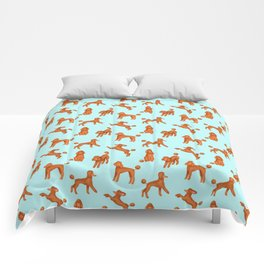 Red Poodles Pattern (Light Blue Background) Comforters