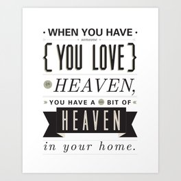 Someone In Heaven-BLACK Art Print