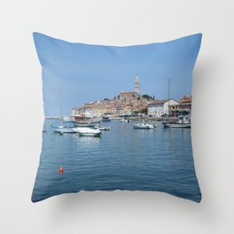 Rovinj Boats Throw Pillow