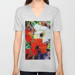 colorful poppies Unisex V-Neck