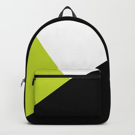 Trichromatic Black White Lime Color Block Backpack