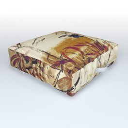Vintage floral collage on paper Outdoor Floor Cushion