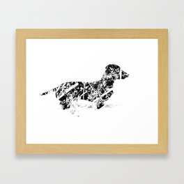 Dachshund in the snow Framed Art Print