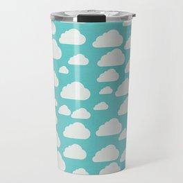 Clouds on Teal Travel Mug
