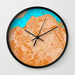 Kinshasa, Democratic Republic of the Congo, Gold, Blue, City, Map Wall Clock