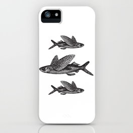 Flying Fish | Black and White iPhone Case