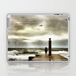 The girl in the storm, Cascais (Portugal) Laptop & iPad Skin