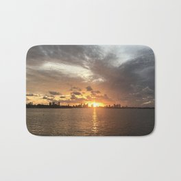 Sunset in Miami with cloudy sky and calm sea Bath Mat