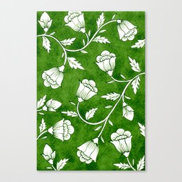Indian Floral Print Pattern - Green Canvas Print