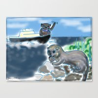 otters Canvas Prints featuring Otters Love by Gaby Kasan
