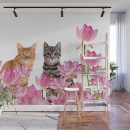 Red and Tiger cat in Lotos Flower Field Wall Mural