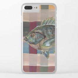 Bluegill on Earth Tone Plaid Clear iPhone Case
