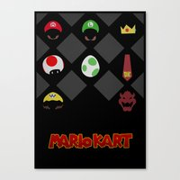 mario kart Canvas Prints featuring Mario Kart by Jynxit