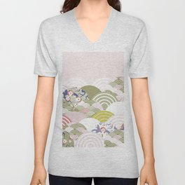 scales simple Nature background with japanese sakura flower, rosy pink Cherry, wave circle pattern Unisex V-Neck