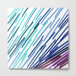 Wint. ethnic lines blue on white Metal Print