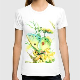Butterfly, yellow turquoise floral butterfly home decor T-shirt
